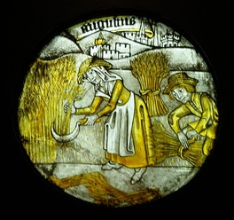 "One of 12 roundels depicting the ""Labours of the Months"" (1450-1475)"
