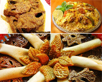A variety of Bangladeshi foods—smoked ilish with mustard-seeds, biryani and pithas