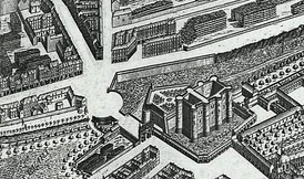 "The Bastille in 1734, showing the Louis XIV boulevard and the growing ""faubourg"" beyond the Porte Saint-Antoine"