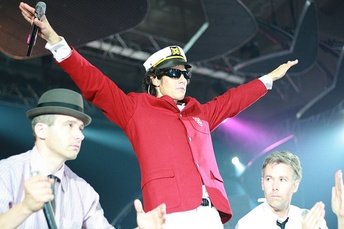 The Beastie Boys (left to right) Ad-Rock, Mike D, and MCA performing in Barcelona, Spain in September 2007.