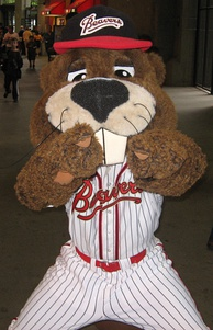 Boomer Beaver (photographed in 2007) was the mascot for the Portland Beavers, a now-defunct Minor League Baseball team.