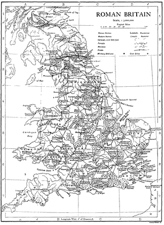 The map of Roman Britain in the 1911 Encyclopædia Britannica, displaying Caersws.