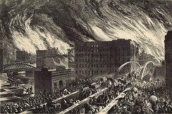 An artist's rendering of the Great Chicago Fire of 1871