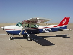 A general aviation aircraft in the United States with its FAA civilian registration number (N98710), which also doubles as its call sign, displayed on the fuselage. However, since this is a Civil Air Patrol aircraft, it will generally be identified by CAPxxxx, based on the state from which it hails.