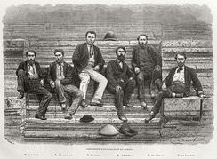 The leading members of the Mekong Exploration Commission at Angkor from left to right: Lieutenant Francis Garnier, Lieutenant Louis Delaporte, Clovis Thorel, Captain Ernest Doudart de Lagrée, Lucien Joubert and Louis de Carné - engraving from photo  by Émile Gsell