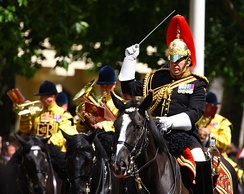 Major Tim Cooper, Director of Music of The Blues and Royals mounted band in London.