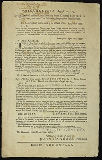 Continental Congress Broadside, 1777mentions Gen. Lincoln's letter.