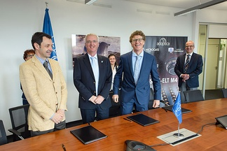 Contract signed with the AdOptica consortium in Italy - ADS International and Microgate, partnered with Istituto Nazionale di Astrofisica - for design and construction of largest adaptive mirror unit in the world.[1]