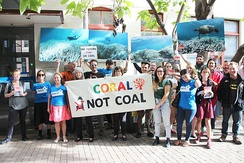 Protesting damage to the Great Barrier Reef caused by climate change in Australia