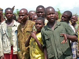 A group of demobilised child soldiers in the Democratic Republic of the Congo