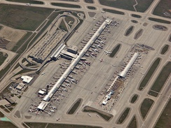Aerial of Detroit Metro Airport, one of the largest air traffic hubs in the US