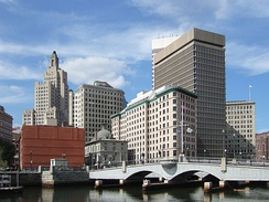 The Crawford Street Bridge extends over the Providence River, connecting Downtown Providence to the East Side