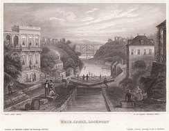 Lithograph of the Erie Canal at Lockport, New York c.1855. Published for Herrman J. Meyer, 164 William Street, New York City
