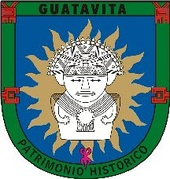 The seal of Guatavita bears a Muisca against a shining Sué