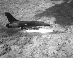 A USAF F-100D firing rockets in South Vietnam, 1967