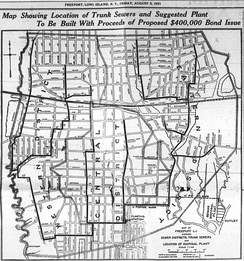 Map, 1921 More details This map of Freeport relates to a sewer bond issue; the districts shown are sewer districts, and trunk sewers are shown in detail. The borders shown are not exactly those of the village (Freeport continues north of Seaman Avenue, and of course this map is cut off to the south). The map predates the construction of Sunrise Highway (just south of the railroad tracks), and roughly the northern two-thirds of what is shown as a reservoir at left is now the site of Freeport High School and its grounds. However, this does provide a detailed map of most Freeport streets at that time, a great many of which still retain the same locations and names.