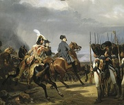 Napoléon I, Emperor of the French, reviewing the Imperial Guard at the Battle of Jena-Auerstedt in 1806, by Horace Vernet.