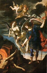 Archangel Michael reaching to save souls in purgatory, by Jacopo Vignali, 17th century