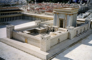 Modern reconstruction of what the Second Temple of Yahweh would have looked like after its renovation during the reign of Herod I