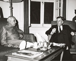 U.S. Ambassador to India John Kenneth Galbraith and Prime Minister Nehru conferring at the time of the conflict. This photograph was taken by the United States Information Service (USIS) and sent to President John F. Kennedy with a letter from Galbraith dated 9 November 1962.