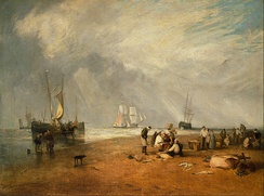 The Fish Market at Hastings Beach by Joseph Mallord William Turner, 1810