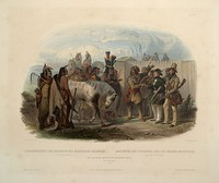 The Travellers Meeting with Minatarre Indians Near Fort Clark.  Maximilian is apparently the man in green holding a gun.  Aquatint illustration by Karl Bodmer from Maximilian Prince of Wied's Travels in the Interior of North America, during the years 1832–1834.