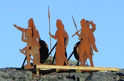 Statues of Norse explorers at L'Anse aux Meadows