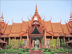 The Cambodian National Museum in Phnom Penh, Cambodia, constructed in Cambodian architecture.