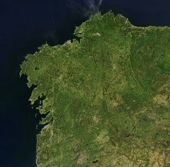 A satellite view of Galicia