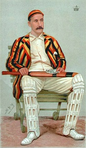 A painting of a cricketer sitting in a chair wearing a striped blazer.