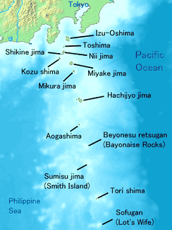 Map of the Izu Islands in black labels