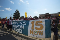Protest calling for raising the Minneapolis minimum wage to $15/hour. 12 September 2016