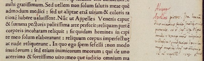 A margin note by Agostino Vespucci (visible at right) discovered in a book at Heidelberg University. Dated 1503, it states that Leonardo was working on a portrait of Lisa del Giocondo.