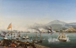 The naval Battle of Navarino (1827), as depicted by Ambroise Louis Garneray.
