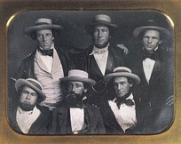 The New York Knickerbockers Baseball Club, circa 1847. Cartwright at the top middle. The identification of Cartwright has been disputed.[9]