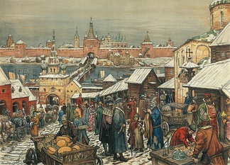 The marketplace in Novgorod, by Apollinary Vasnetsov.