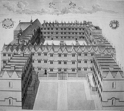 1733 copper engraving of the college, looking south, after the completion of Bishop Robinson's and Provost Carter's buildings in Second Quad
