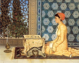 Girl Reciting the Qur'ān (Kuran Okuyan Kız), an 1880 painting by the Ottoman polymath Osman Hamdi Bey, whose works often showed women engaged in educational activities.[1]