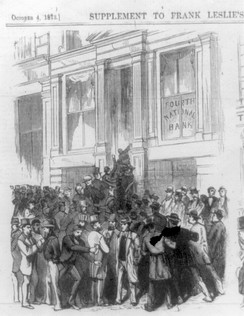 A bank run on the Fourth National Bank No. 20 Nassau Street, New York City, from Frank Leslie's Illustrated Newspaper, 4 October 1873