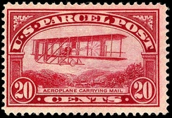 20¢ Parcel Post Stamp Issued in 1912, this was the first time in history an airplane appeared on a postage stamp.