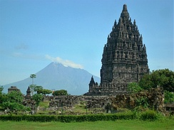 The volcano with Prambanan