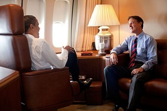 Bayh speaking with Barack Obama on Air Force One in 2009