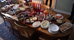 Christmas table in a Swedish home