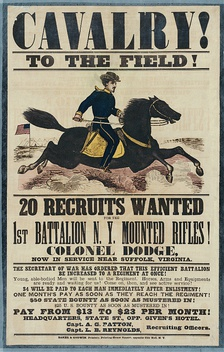 Recruiting poster for the 1st Battalion New York Mounted Rifles