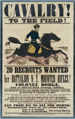 Recruiting poster for the First Battalion, New York Mounted Rifles