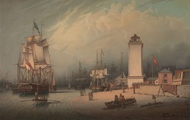 North Shields 1828 (by Robert Salmon). From left-right: Shipping on the Tyne, New Low Light, Old Low Light, Clifford's Fort.