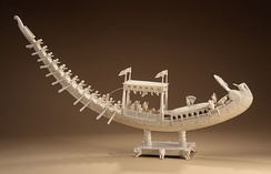 A sculpture of the Nawab's royal peacock barge, Los Angeles County Museum
