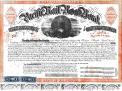 Pacific Railroad Bond issued by City and County of San Francisco, CA. May 1, 1865