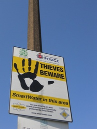 Greater Manchester Police SmartWater warning sign
