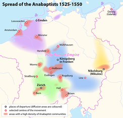 Spread of the early anabaptists in Central Europe   Dutch Mennonites(spread from Emden)   South and Central German Anabaptists(spread from Königsberg in Franken)   Swiss Brethren(spread from Zürich)   Moravian Anabaptists(spread from Nikolsburg)